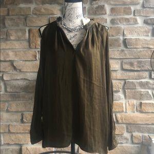 Elan olive split shoulder & arm long sleeve blouse